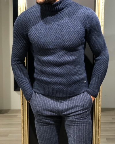Navy Blue Turtleneck Sweater by GentWith.com with Free Worldwide Shipping