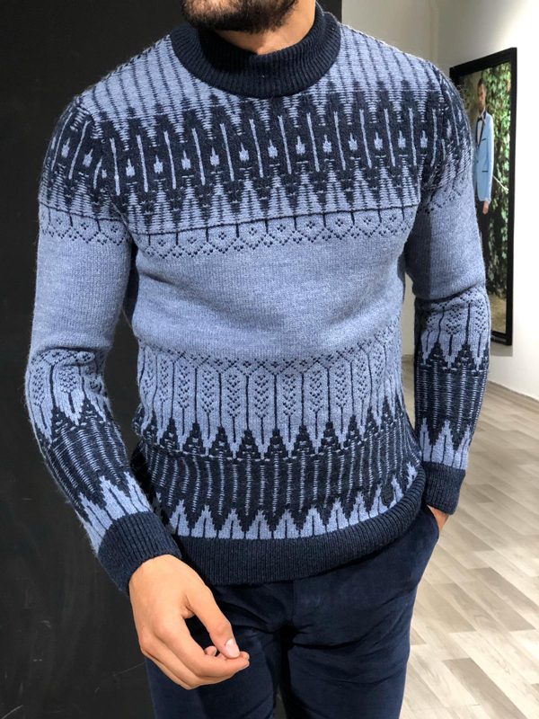Blue Slim Fit Mock Turtleneck Sweater by GentWith.com with Free Worldwide Shipping