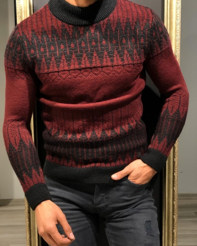 Burgundy Slim Fit Mock Turtleneck Sweater by GentWith.com with Free Worldwide Shipping