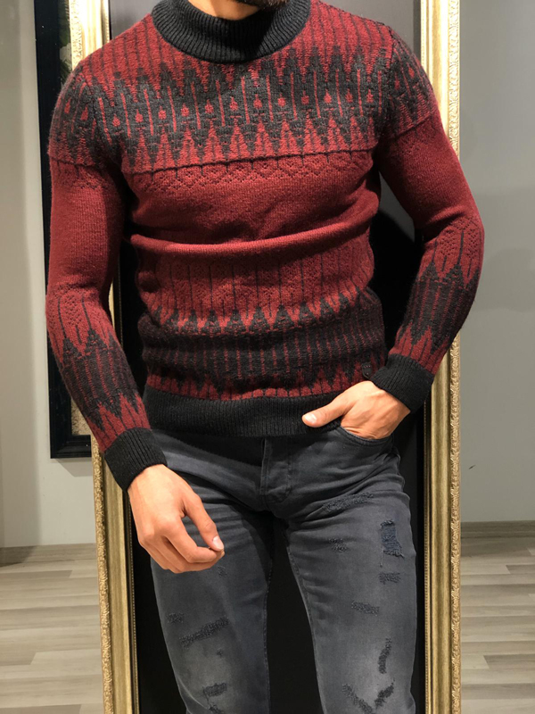 Burgundy Mock Turtleneck Sweater by GentWith.com with Free Worldwide Shipping
