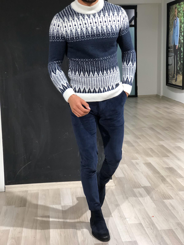 Navy Blue Slim Fit Mock Turtleneck Sweater by GentWith.com with Free Worldwide Shipping