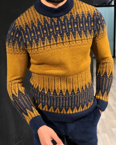 Yellow Mock Turtleneck Sweater by GentWith.com with Free Worldwide Shipping