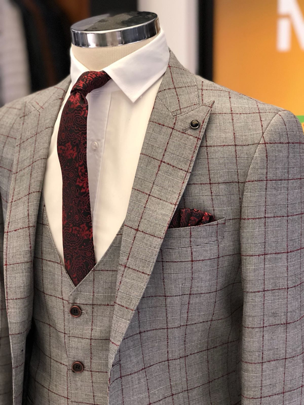Burgundy Slim Fit Plaid Check Suit by GentWith.com with Free Worldwide Shipping