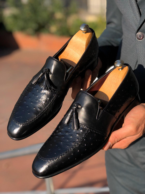 Black Leather Tassel Loafer by GentWith.com with Free Worldwide Shipping