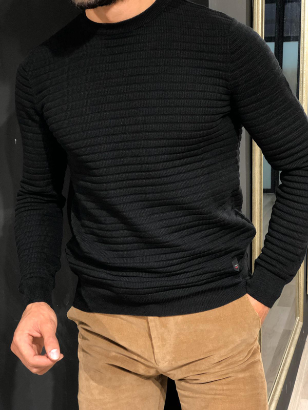 Black Crew Neck Sweater by GentWith.com with Free Worldwide Shipping