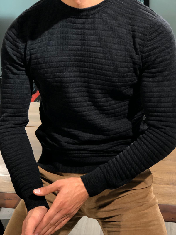 Black Slim Fit Crew Neck Sweater by GentWith.com with Free Worldwide Shipping