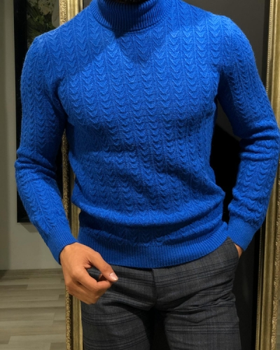 Blue Slim Fit Turtleneck Sweater by GentWith.com with Free Worldwide Shipping