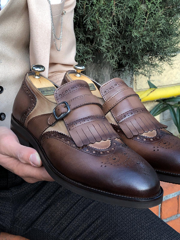 Brown Wing Tip Kilt Loafer by GentWith.com with Free Worldwide Shipping