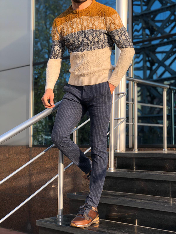 Beige Slim Fit Crew Neck Wool Sweater by GentWith.com