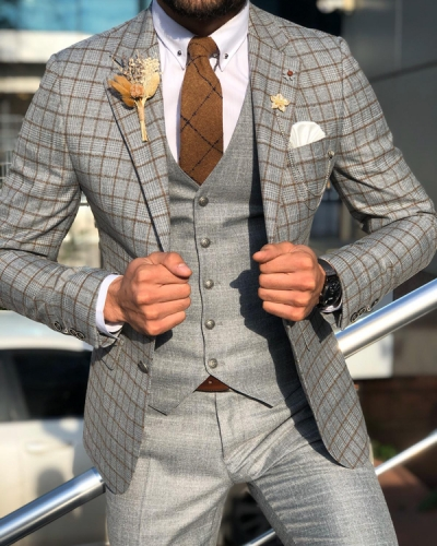 Brown Slim Fit Plaid Check Suit by GentWith.com with Free Worldwide Shipping