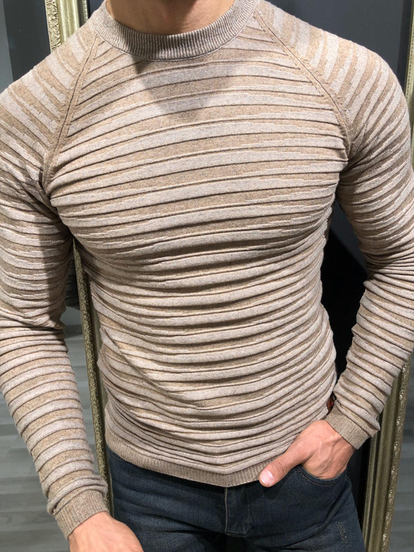 Beige Slim Fit Crew Neck Sweater by GentWith.com with Free Worldwide Shipping