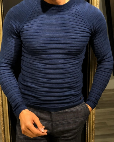 Navy Blue Slim Fit Crew Neck Sweater by GentWith.com with Free Worldwide Shipping