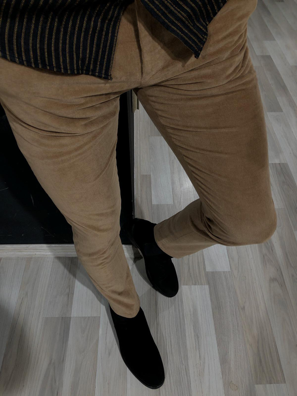 Beige Slim Fit Corduroy Pants by GentWith.com with Free Worldwide Shipping
