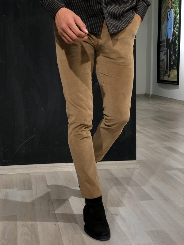 Brown Slim Fit Corduroy Pants by GentWith.com with Free Worldwide Shipping
