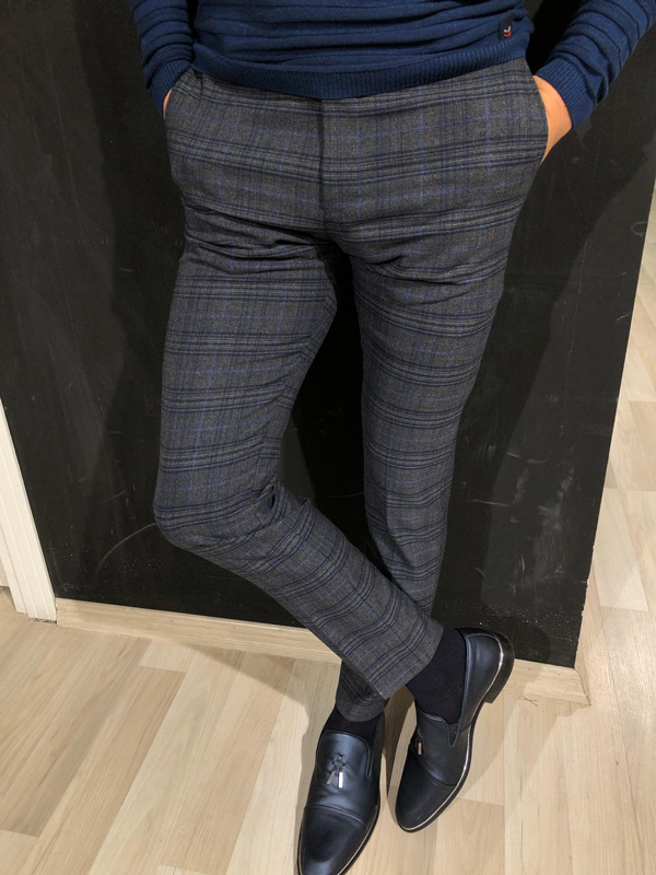 Blue Slim Fit Plaid Pants by GentWith.com with Free Worldwide Shipping