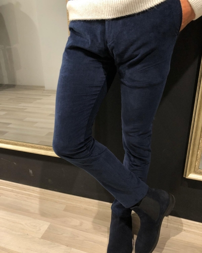 Navy Blue Slim Fit Corduroy Pants by GentWith.com with Free Worldwide Shipping