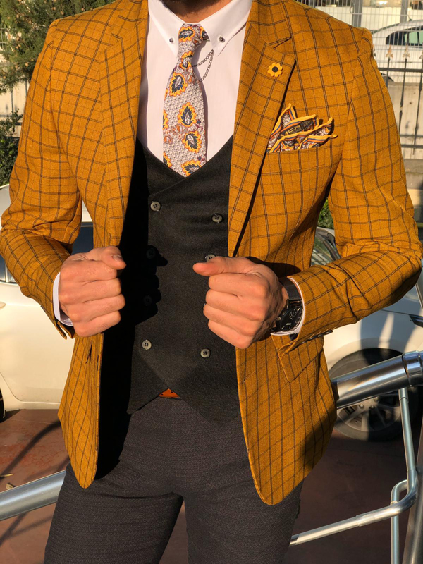 Mustard Plaid Check Suit by GentWith.com with Free Worldwide Shipping