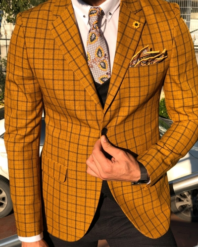 Mustard Slim Fit Plaid Check Suit by GentWith.com with Free Worldwide Shipping