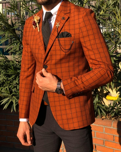 Tile Slim Fit Plaid Check Suit by GentWith.com with Free Worldwide Shipping