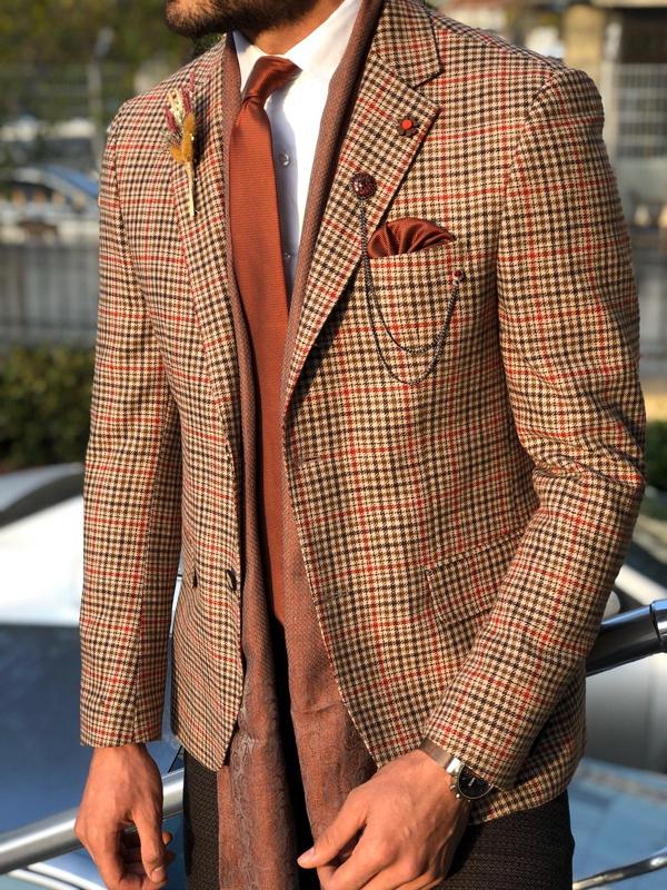 eige Slim Fit Wool Blazer by GentWith.com