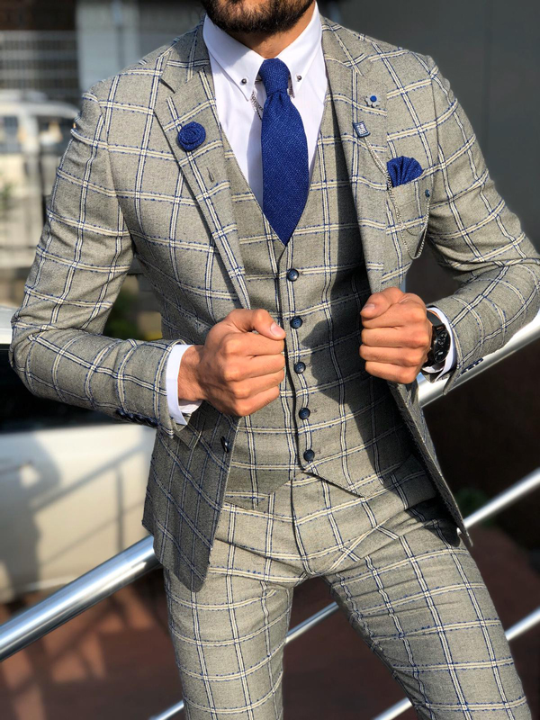 Blue Slim Fit Plaid Check Suit by GentWith.com with Free Worldwide Shipping
