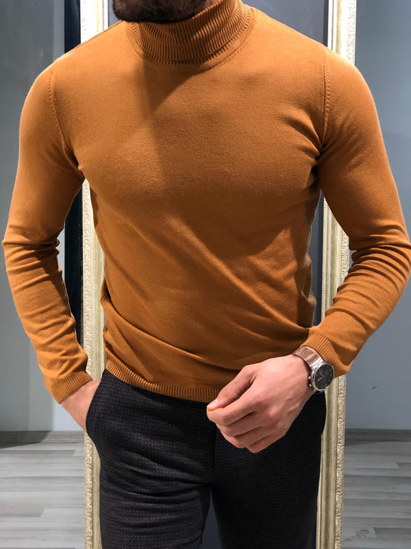 Brown Slim Fit Turtleneck Wool Sweater by GentWith.com