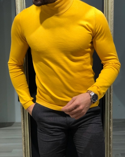 Yellow Slim Fit Turtleneck Wool Sweater by GentWith.com