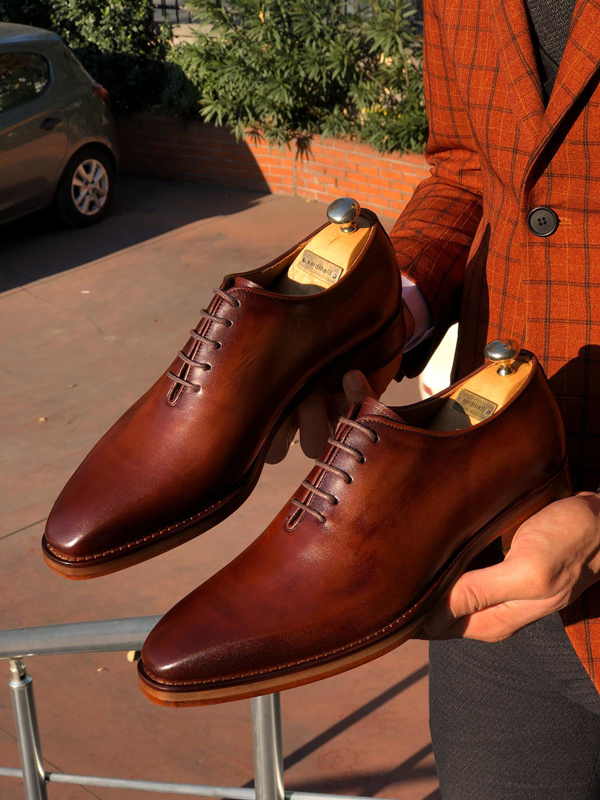 Brown Leather Wholecut by GentWith.com with Free Worldwide Shipping