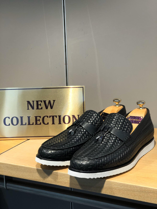 Black Woven Leather Tassel Loafer by GentWith.com
