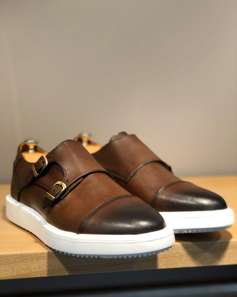 Brown Monk Strap Cap Toe Shoes by GentWith.com