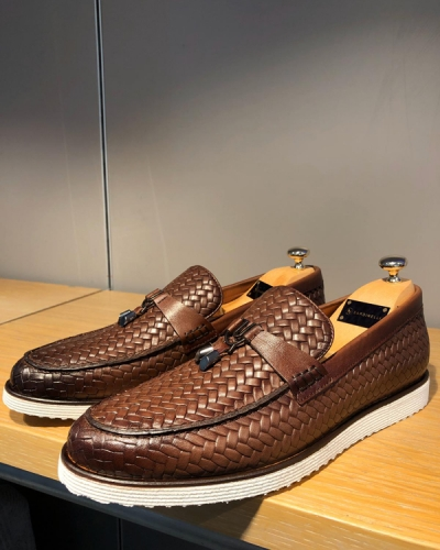 Brown Woven Leather Tassel Loafer by GentWith.com
