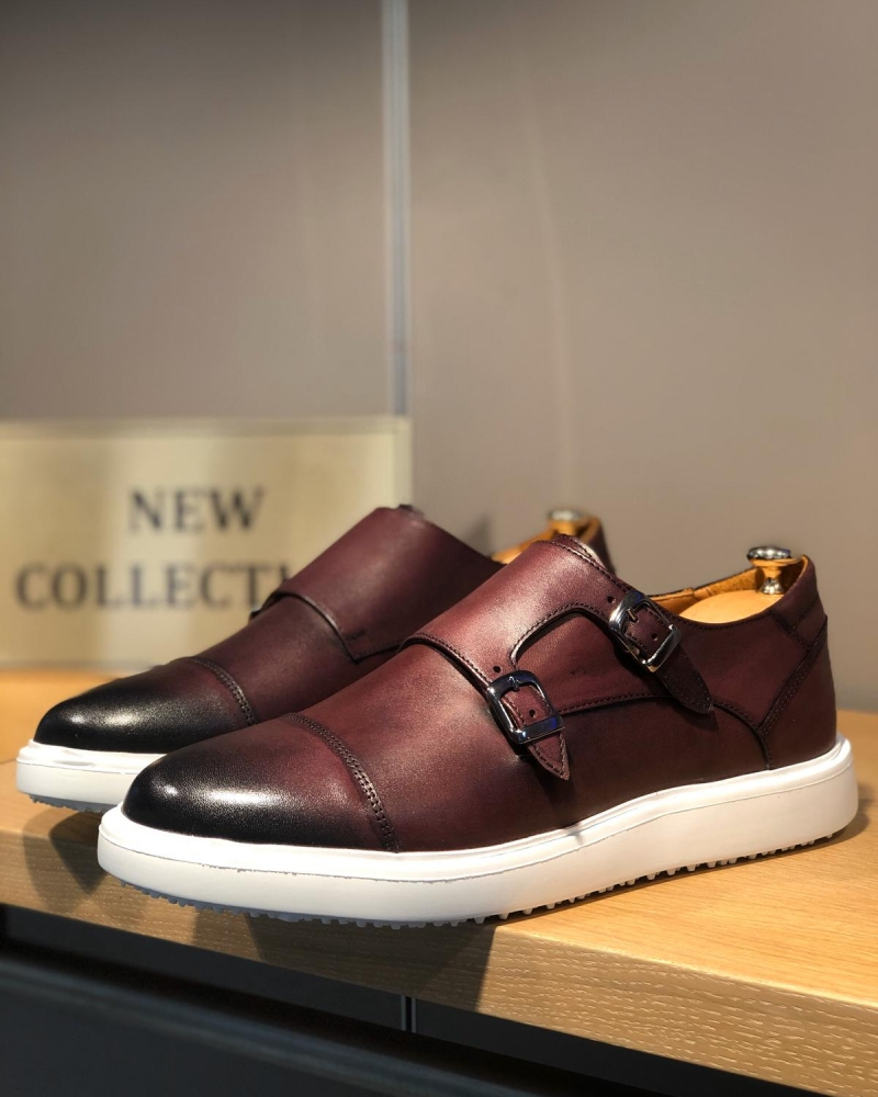 Claret Red Monk Strap Cap Toe Shoes by GentWith.com