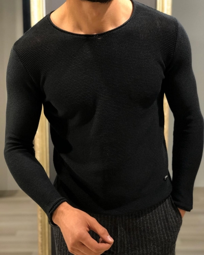 Black Slim Fit Round Neck Sweater by GentWith.com with Free Worldwide Shipping