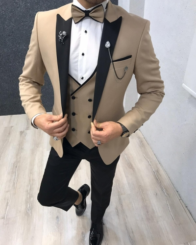 Gold Slim Fit Tuxedo by GentWith.com with Free Worldwide Shipping