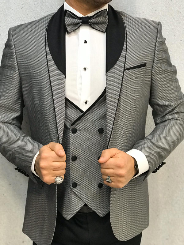 Gray Slim Fit Tuxedo by GentWith.com with Free Worldwide Shipping