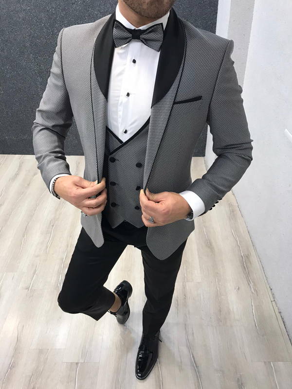 Gray Slim Fit Shawl Collar Tuxedo by GentWith.com with Free Worldwide Shipping