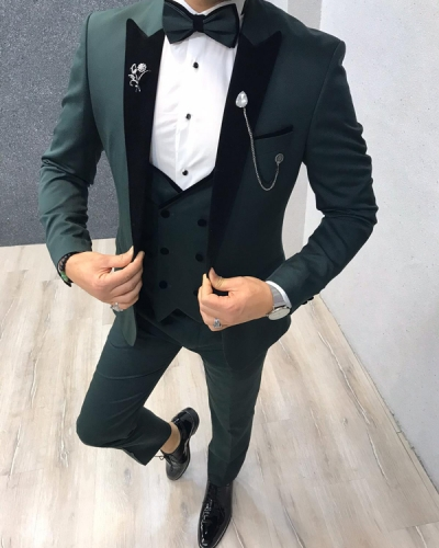 Green Slim Fit Tuxedo by GentWith.com with Free Worldwide Shipping