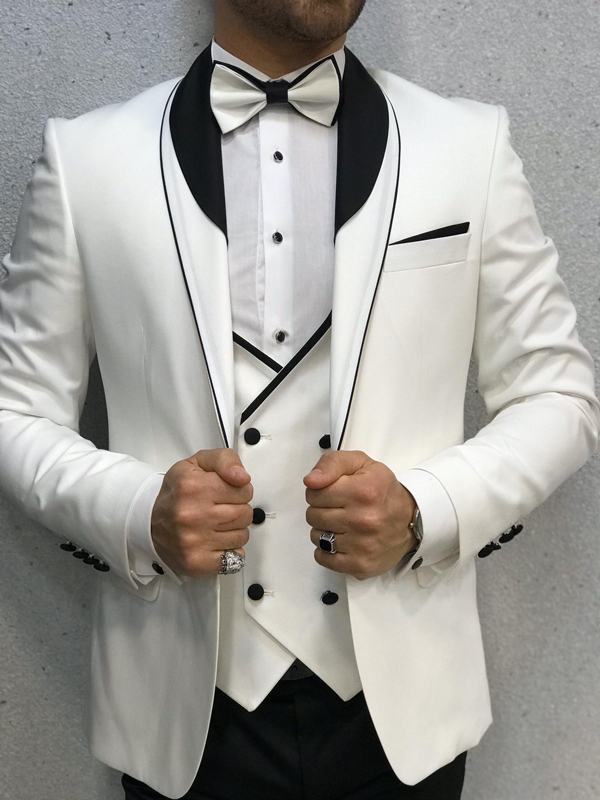 White Wedding Tuxedo by GentWith.com with Free Worldwide Shipping
