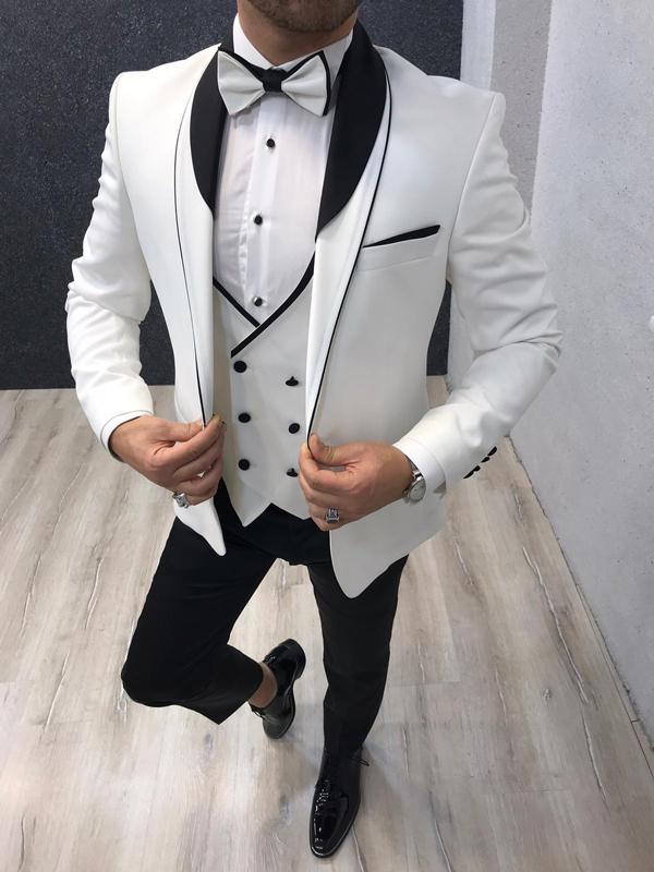 White Slim Fit Shawl Collar Tuxedo by GentWith.com with Free Worldwide Shipping