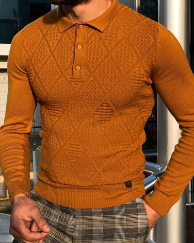 Brown Slim Fit Collar Sweater by GentWith.com
