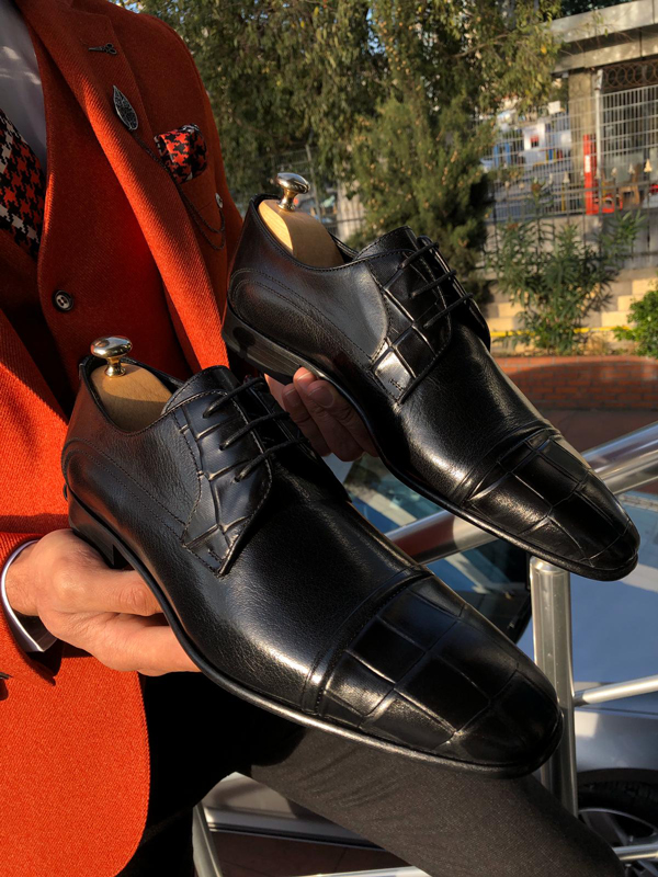Black Cap Toe Derby by GentWith.com with Free Worldwide Shipping