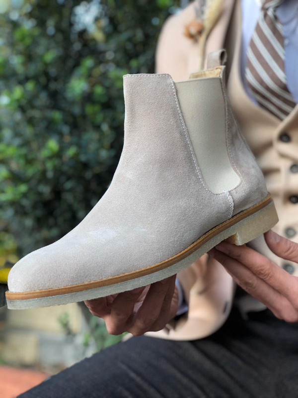 Gray Suede Leather Chelsea Boots by GentWith.com with Free Worldwide Shipping