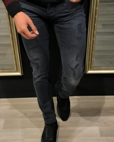 Black Distressed Jeans by GentWith.com with Free Worldwide Shipping