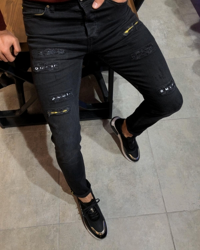 Black Slim Fit Ripped Jeans by GentWith.com with Free Worldwide Shipping