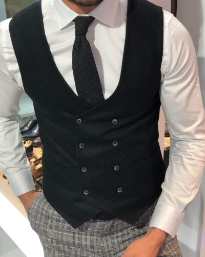 Black Slim Fit Double Breasted Wool Vest by GentWith.com with Free Worldwide Shipping