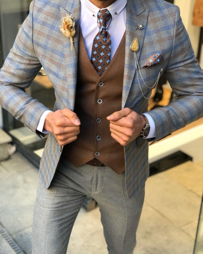 Camel Slim Fit Check Suit by GentWith.com with Free Worldwide Shipping