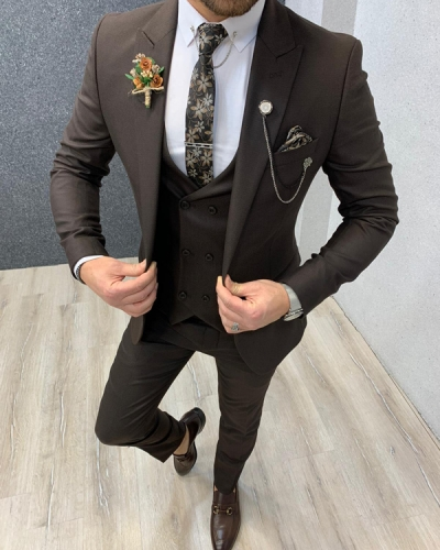 Coffee Slim Fit Suit by GentWith.com with Free Worldwide Shipping