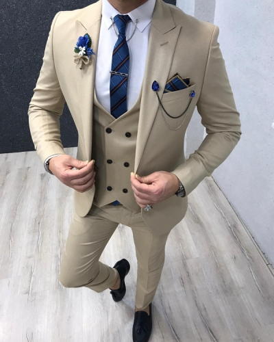 Cream Slim Fit Suit by GentWith.com with Free Worldwide Shipping