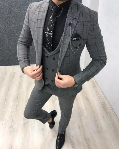 Gray Slim Fit Plaid Check Suit by GentWith.com with Free Worldwide Shipping