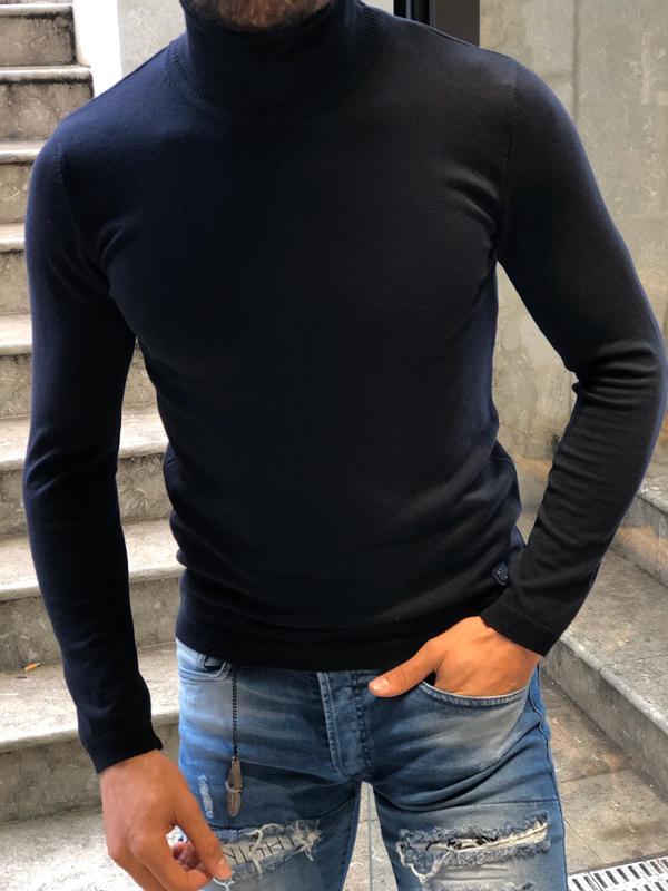 Dark Blue Slim Fit Turtleneck Wool Sweater by GentWith.com